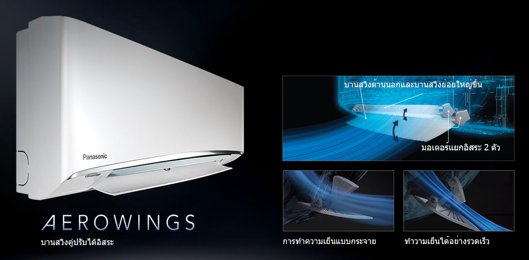 แอร์ Panasonic รุ่น Standard Inverter มีระบบ AeroWings และ iAuto