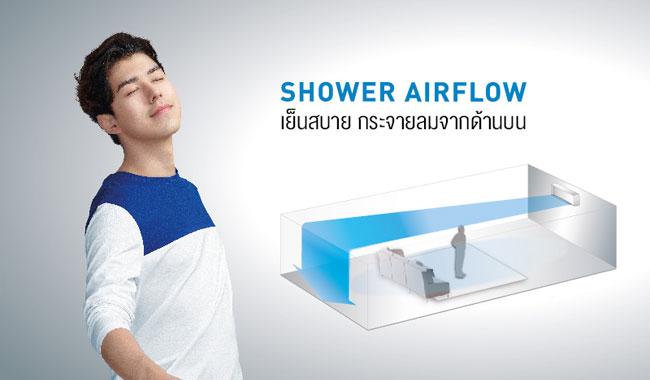 แอร์ พานาโซนิค รุ่น Standard Inverter แบบ Shower Airflow เย็นสบายจากด้านบน